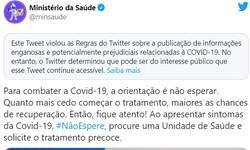 TWITTER põe Alerta de Informação Falsa em Postagem do Ministério da Saúde